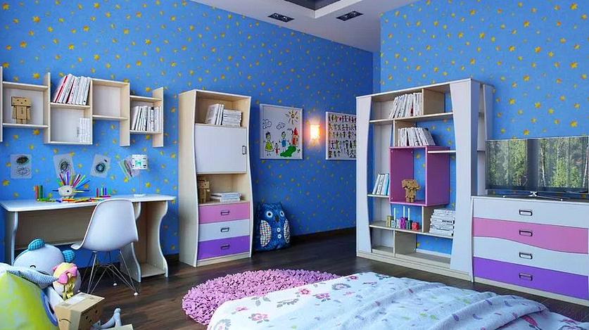 Детский интерьер, мебель красивой девочкиной комнаты