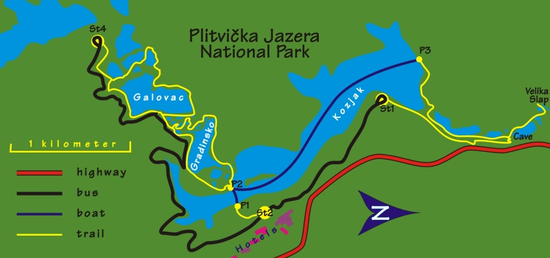 Плитвицкие озера - схема