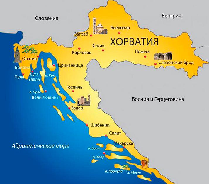 Хорватия куда поехать, отметки на карте