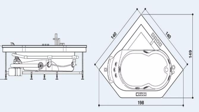 Размер джакузи для ванной
