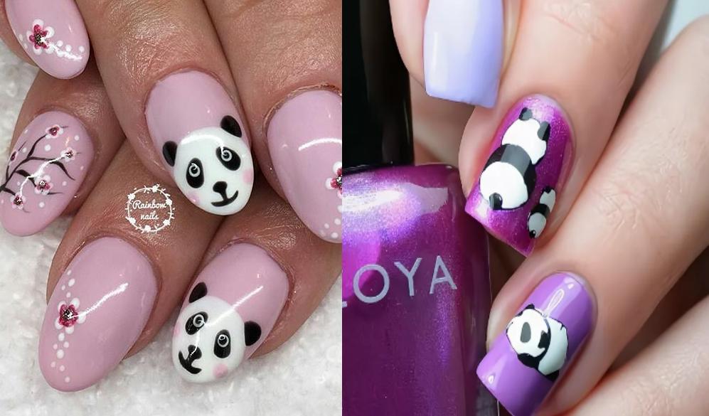 Популярный рисунок на ногтях с изображением панд