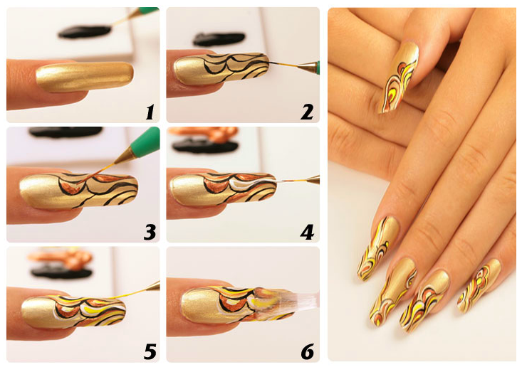 Рисунки иголкой на ногтях