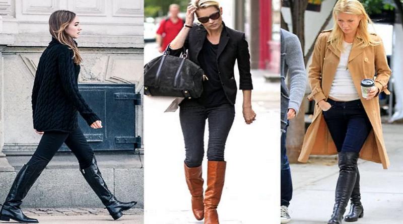 С чем носить высокие сапоги на низком каблуке