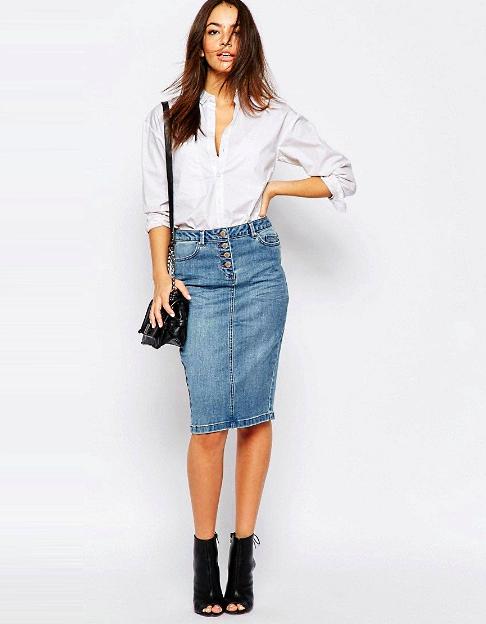 С чем носить юбку карандаш джинсовую