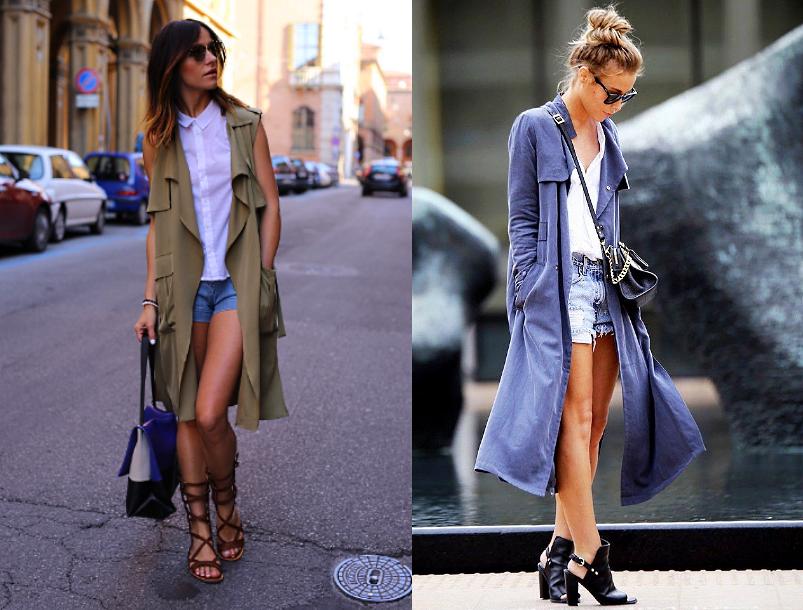 Как носить летнее пальто с шортами