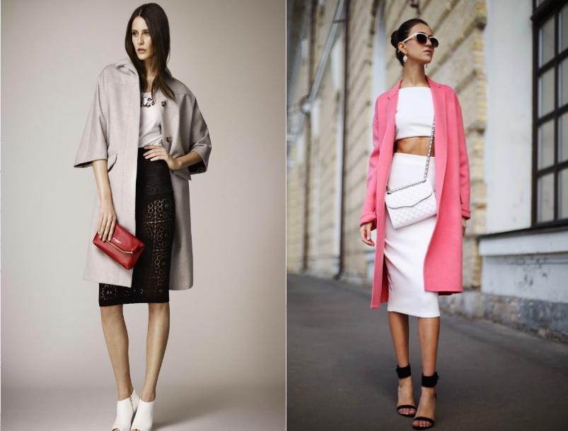 Как носить летнее пальто с юбкой