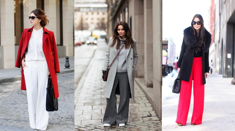 Сочетания с верхней одеждой широкие женские брюки
