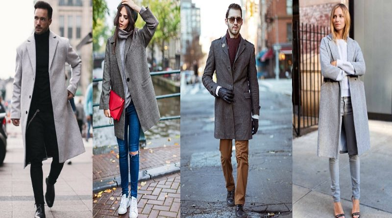 С чем носить серое пальто, женщине и мужчине
