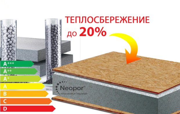 Neopor BASF - графитовый пенополистирол, теплосбережение до 20 процентов